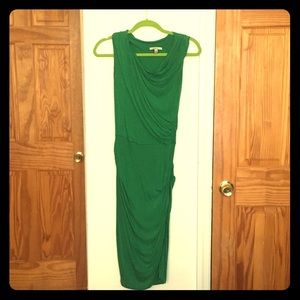 Anthropologie Bordeaux green midi ruched dress